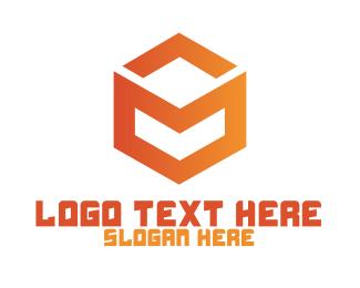 Orange - Letter M Cube logo design