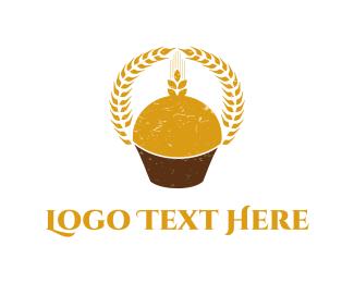 Muffin -  Wheat Cupcake  logo design