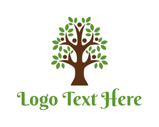 Parenthood - Cute Tree People logo design