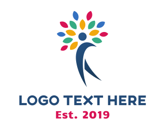 Early Learning Center - Colorful Tree Person logo design