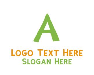 Children - Preschool Green Letter A logo design