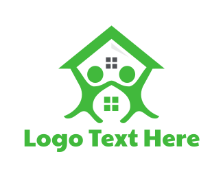 Neighborhood - Green Couple House logo design