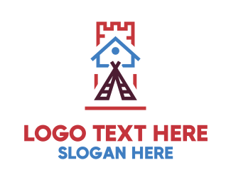 Lodge - House Teepee Castle logo design