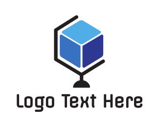 Globe - Cube Hexagon Globe logo design