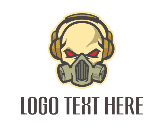 Disc Jockey - Skull Headphones logo design