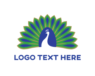 Blue & Green Peacock Logo