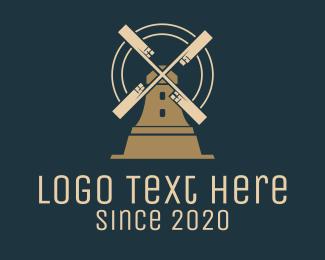 Landmark - Brown Windmill House logo design