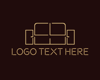 Living Room - Sofa Outline logo design