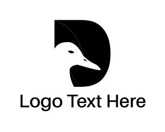 Negative Space - Duck & Letter D logo design