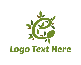 Lettering - Olive Letter E logo design