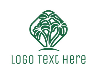 Oasis - Green Tropical Palms logo design