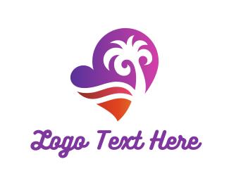 Sunset - Heart Beach logo design