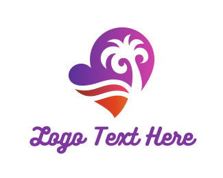 Palm Tree - Heart Beach logo design