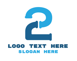 Two - Blue Two Pipe logo design