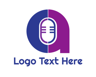 Recording - Microphone A Outline logo design