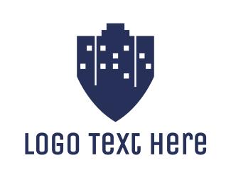 Establishment - Blue City Shield logo design