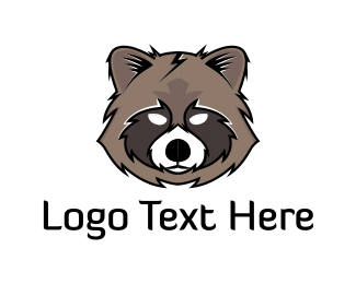 Gray - Raccoon Head logo design