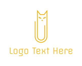 Paper Clip - Cat Clip logo design