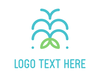 Waterfall - Water Fountain logo design