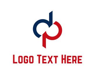 Letter P - Blue & Red Letters logo design