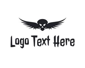 Toxic - Black Skull Wing logo design