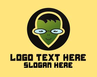 Nerdy - Geek Alien logo design