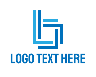 Linear - Blue Line B logo design