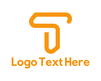 Clip - Orange Letter T logo design