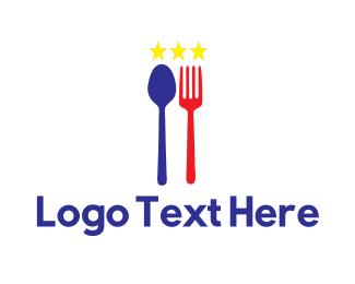 French - Blue & White Stars Cuisine logo design