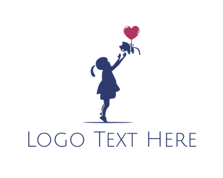 Girl - Girl & Cat logo design