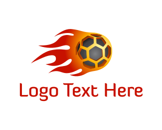 Ball - Football Flame logo design