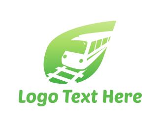 Rail - Green Train logo design