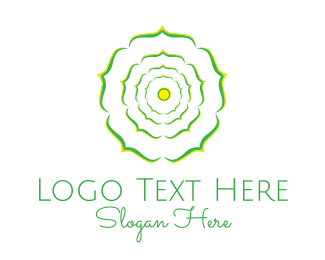 Mandala - Green Flower logo design