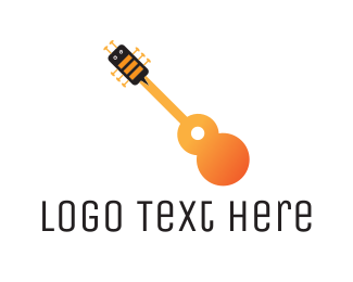Guitar - Bee & Guitar logo design