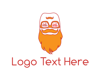 Moustache - Hipster Beard logo design