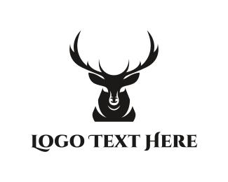 Antlers - Deer Silhouette logo design