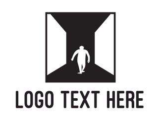 Flooring - Man & Hallway logo design
