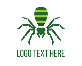Hacker - Green Spider logo design