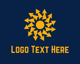 Electric - Arrow Sun logo design