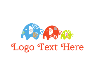 Colorful - Elephant Family logo design