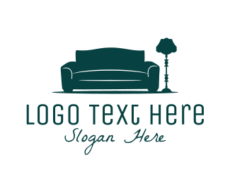 Living Room - Sofa & Lamp logo design