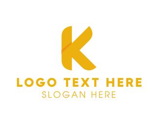 Letter - Golden Letter K logo design