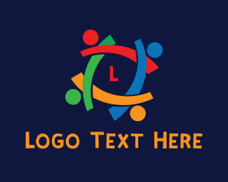 Crowd - Colorful People Lettermark  logo design