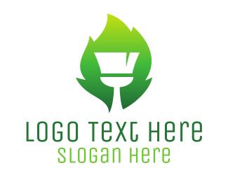 Brush - Gradient Brush Leaf logo design