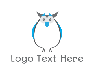 Dove - Cute Blue Owl logo design