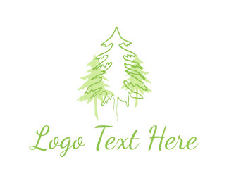 Hill - Three Green Pines logo design