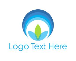 Blue Flower Circle logo design