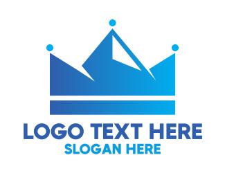 Everest - Blue Crown Mountain logo design