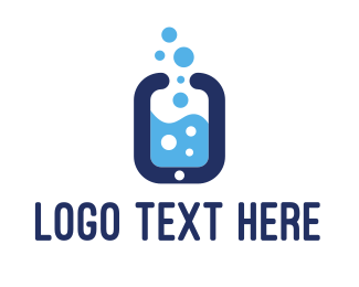 Steam - Smartphone & Bubbles logo design