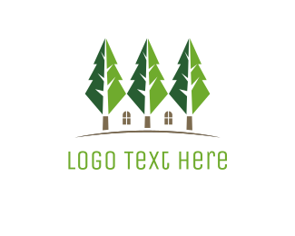 Nursery - Green Tree Houses logo design